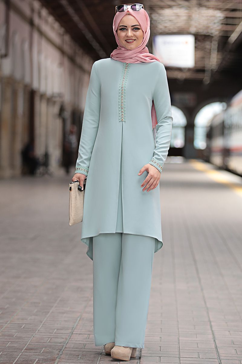 b01cdcca70c31 Mira İkili Takım Mint - Ahunisa - Asrimoda - En Şık Tesettür Giyim, Abiye,  Elbise, Tunik ve Büyük Beden Modelleri